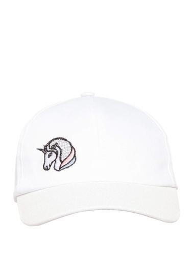 DeFacto Unicorn Baskılı Kız Çocuk Şapka Beyaz